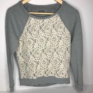 Apt 9 Grey Sweatshirt w/Beige Lace Overlay  Sz: XS